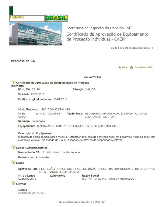 503405c8b1528 Para pesquisar e abrir o certificado de aprovação do ministério do  trabalho